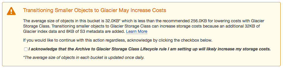 AWS S3 Glacier Transitioning Smaller Objects to Glacier May Increase Costs